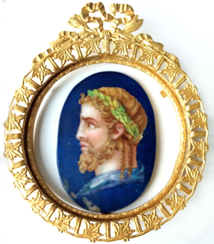 PORCELANA BRONCE - Retrato pintado a mano - c.1890