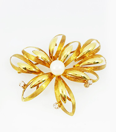 ORO AMARILLO 18K - Brillantes - Perla natural