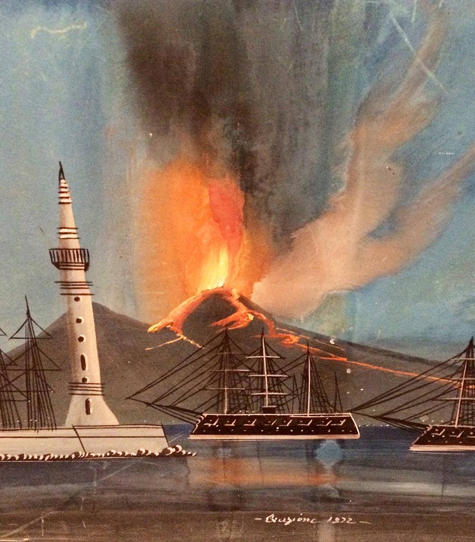 ERUZIONE 1832 - Paisaje con erupción del Vesubio - Firmado - Fechado
